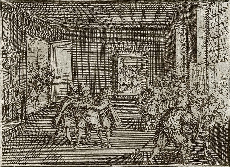 Second Defenestration of Prague. Engraving by Matthäus Merian (1593–1650) for