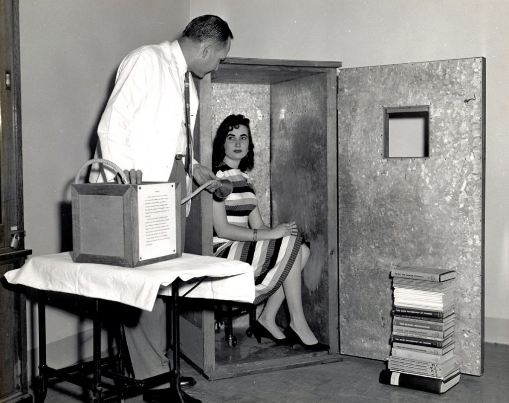 Psychiatrist Wilhelm Reich declared the existence of a universal healing and revitalizing force, called orgone, and created devices (the booth and breathing apparatus are pictured here) to capture and administer it. He was fined and eventually jailed in the 1950s. Healing Devices (FDA 138)The U.S. Food and Drug Administration.