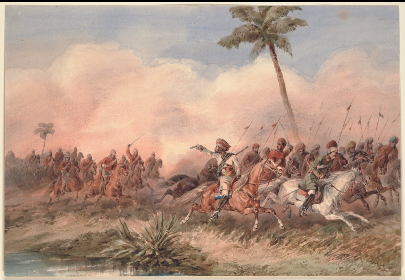 The 2nd Dragoon Guards, the Queen's Bays, routing the Lucknow mutineers near the Hyderabad road, Original watercolor signed by Norie; dragoons at left pursuing fleeing mutineers at right. Prints, Drawings, and Watercolors from the Anne S.K. Brown Military Collection. Sepoy Rebellion, 1857-1858, Oblong folio. Date 1 January 1859. Painting in watercolor by Orlando Norie (1832-1901). Public Domain.