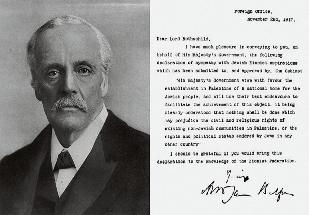 Den britiske udenrigsminister Arthur James Balfour, og brevet hvor britisk imperialisme lover den zionistiske leder Lord Rothschild, at jøderne kan få et hjemland i palæstinensernes land