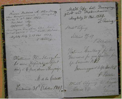 Kopi af side 8 og 9 i Karen Cathrine Marie Hinborgs skudsmålsbog: Teksten kan læses på linket ovenfor.