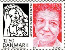 """Dea Trier Mørch på dansk frimærke 2010, med illustration fra """"Vinterbørn"""""""