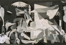 El Guernica. Painting by Pablo Ruiz Picasso. the painting was a protest and a visualization of the bombardement of the little Basque town, see april 26. 1937 below. Photo by Antonio Marín Segovia. (CC BY-NC-ND 2.0).
