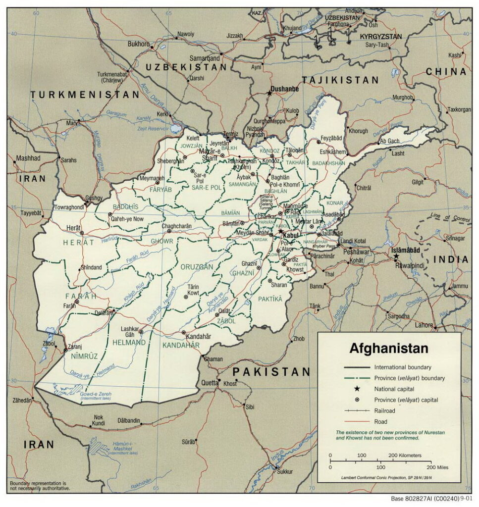 Map of administrative divisions of Afghanistan, 2001. Collection: Perry-Castañeda Library Map Collection, 2017. Author: Central Intelligence Agency (CIA). Public Domain.