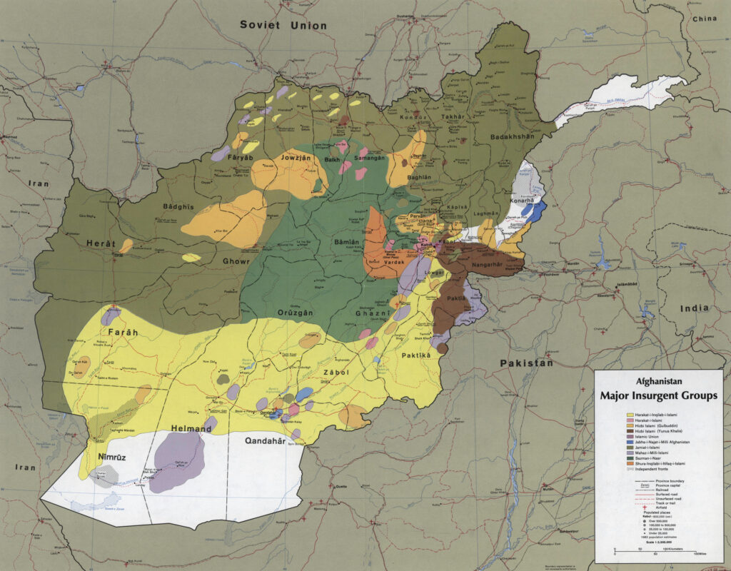 CIA map showing the areas where the main Mujahideen factions operated in 1985, during the Soviet war in Afghanistan. Scale 1:2,500,000 (E 600--E 750/N 380--N 290). Date: September 1985. Author: Central Intelligence Agency/US Federal publication. Public Domain.