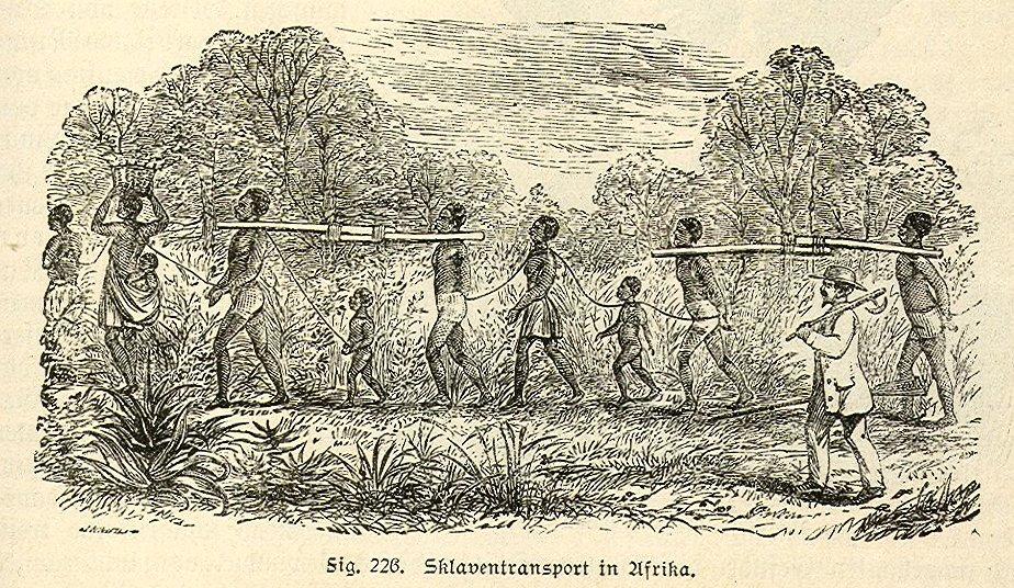 """Slaves being transported in Africa, 19th century engraving. Scanned from book: """"Lesebuch der Weltgeschichte oder Die Geschichte der Menschheit"""", by Wilhelm Redenbacher, 1890. Public Domain."""