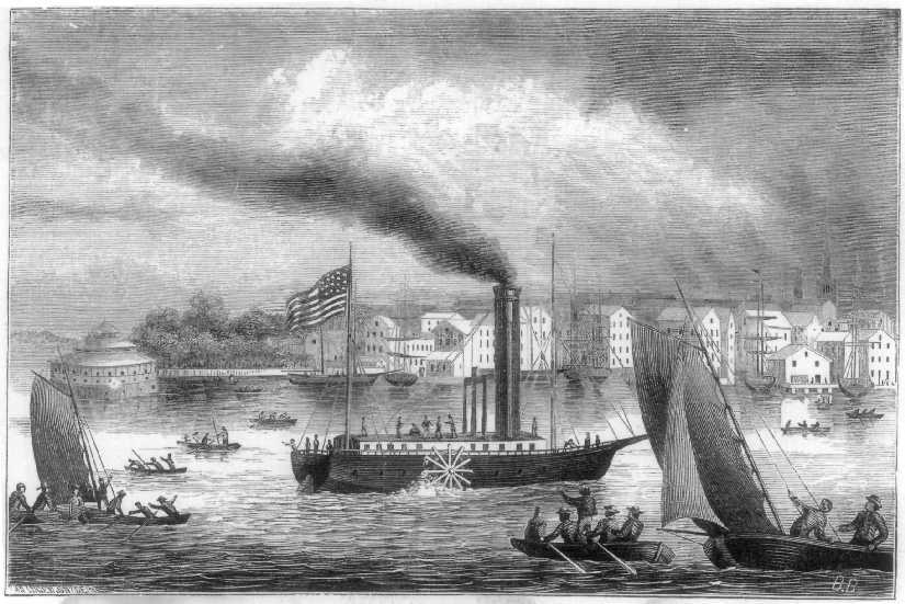 Bookillustration: Robert Fulton tests the first steamboat at the Hudson River, 1807. Author James D. McCabe, Jr. Illustration by G. F. and E. B. Bensell. Date: 1870. Public Domain.