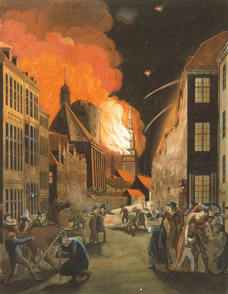København i brand. Det frygtelige bombardement af København, 1807. Olie på lærred malet af Christoffer Wilhelm Eckersberg (1783–1853). Original findes på det Kongelige Bibliotek. Public Domain.