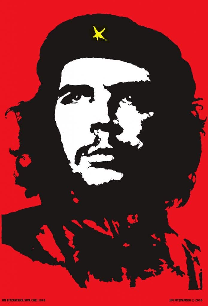 """""""In 1967 I was outraged by the manner of Che Guevara's execution while a prisoner of war in Bolivia and it led me to create this now world-famous image."""" This version of the iconic picture of Che Guervara i made by the Irish artist Jim Fitzpatrick. © Jim Fitzpatrick"""