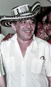 "Gabriel Garcia Marquez, 1984. ""Gabo"" wearing a ""sombrero vueltiao"" hat, typical of the Colombian Caribbean region. Most of the stories by García Márquez revolve around the idiosyncrasy of this region. Photo: F3rn4nd0, edited by Mangostar. (CC BY-SA 3.0)."