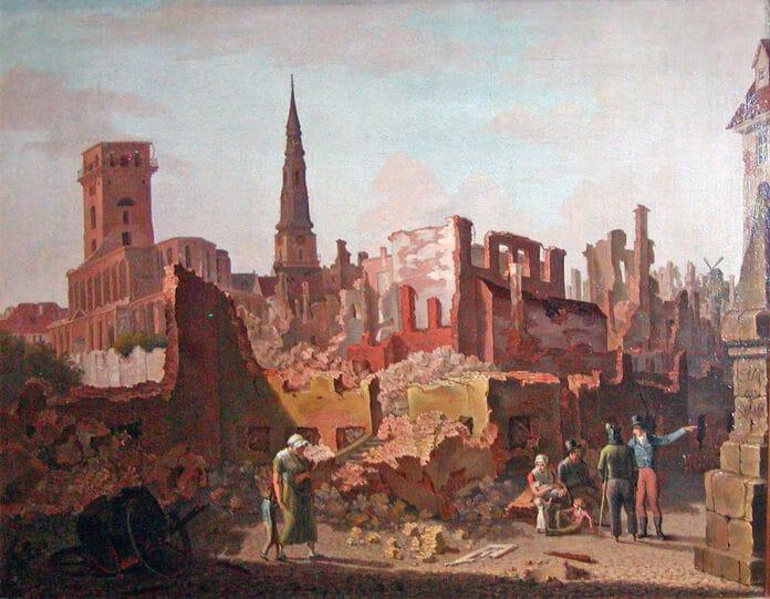 Gråbrødre Torv efter Bombardementet i 1807. Oliemaleri fra 1808 af J.P. Møller (1783-1854), dansk landskabsmaler og konservator. Billedet er på Malerisamlingen på Frederiksborg Slot. Public Domain.