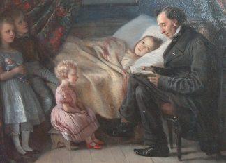 """H.C. Andersen læser historien """"Engelen"""" for malerindens børn 1862. Malet af Elisabeth Jerichau-Baumann (1819-1881), dansk maler og forfatter. Photo: Lars Bjørnsten Odense. Public Domain."""