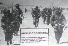 "Handbill distributed by US Forces during the invasion of Grenada. The picture, taken the day after the invasion, on October 26, 1983 - includes (foreground) an Army Psychological Warfare leaflet prepared in advance and dropped by US Air Forces during the invasion of Grenada + and (background) Army Rangers marching through on day two finding the leaflets on the ground. Army Psychological Warfare units became operational on the island a few days later, to operate the AN/TRT-22 radio transmitter that replaced the Radio Grenada transmitter destroyed during the fighting. The ""handbill"" was also handed out during the invasion. Photo: EDomingos (talk). Public Domain. Source: Wikimedia Commons."