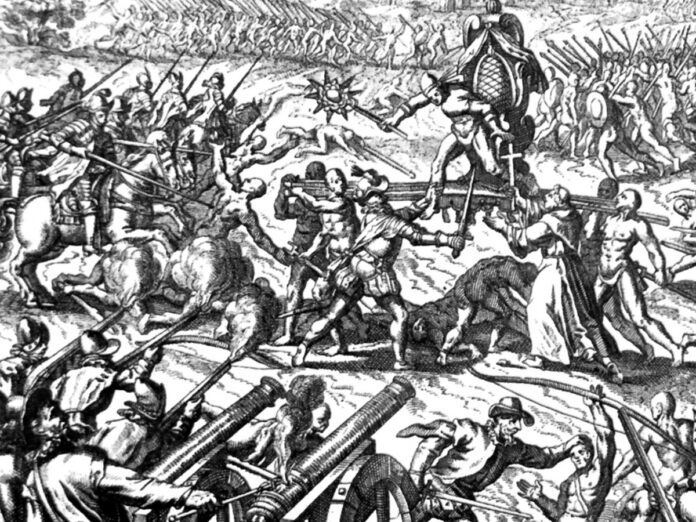 Spanish colonialists army attack on the Inka-people in Cajamarca under the leadership of Atahuallpa. 5000 were killed and Atahuallpa was captured by Francifco Pizarro. Unknown artist. Photo: Lupo. Public Domain.