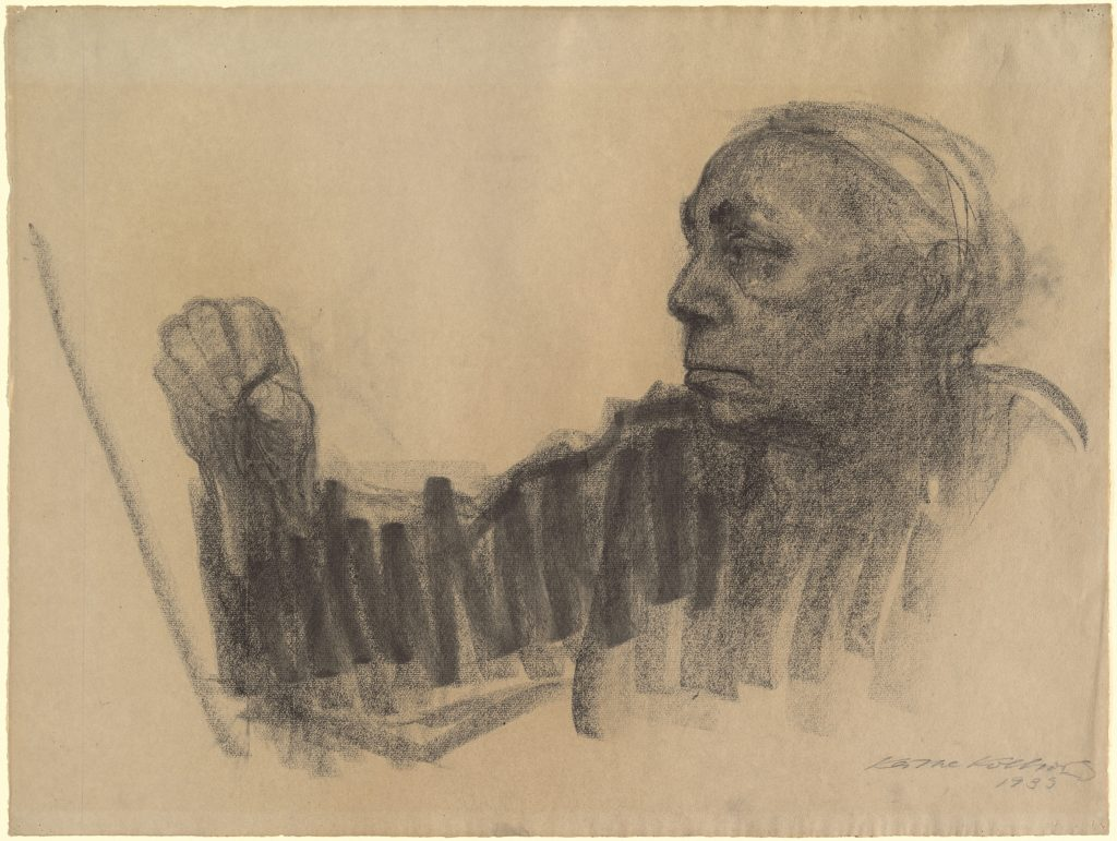 Käthe Kollwitz (1867–1945). Autoportrait, charcoal on brown laid Ingres paper, 1933. From the Rosenwald Collection, National Gallery of Art, Washington, D. C. Public Domain.