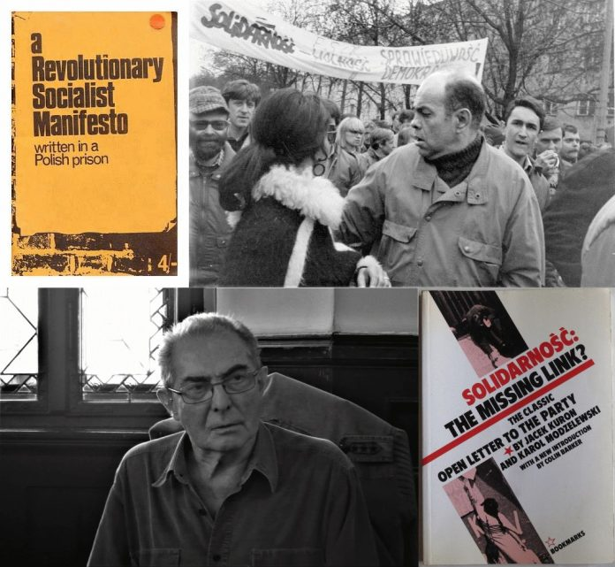 Upper right: Black - white photograph of the 1989 May 1 demonstration Day with the participation of the opposition and Jacek Kuron, 24 September 2013, Black - white photograph of the 1989 May 1 demonstration Day with the participation of the opposition and Jacek Kuron. Author: Andrzej Iwański (Scanned by Europeana 1989) (CC BY-SA 3.0). Down left:Karol Modzelewski. Festiwal Góry Literatury, 6.07.2017. Source: Own work. Author: Tomasz Leśniowski. (CC BY-SA 4.0) And two edition of the book they wrote together. See below june 17, 2004