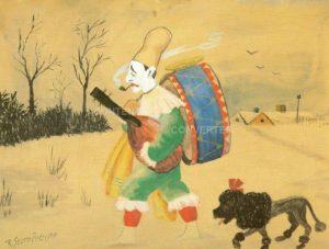 'Den arbejdsløse klovn'. Akvarel af Storm P (1882-1949).