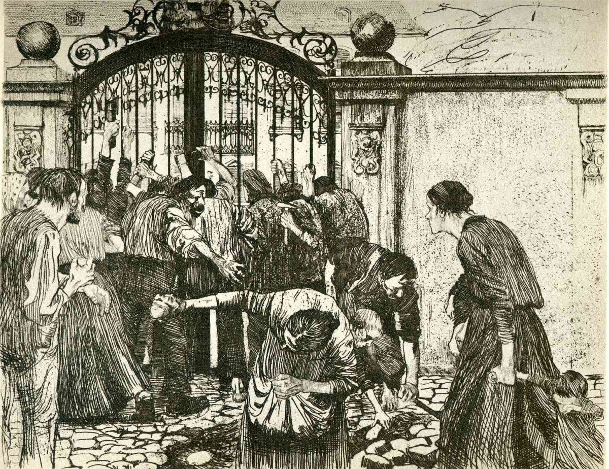 Revolt by the gates of a park 1897 in A Weavers Revolt. Radering by Käthe Kollwitz (1867—1945). Public Domain. Location: Hermitage Museum, Saint Petersburg, Russia.