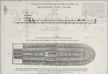 Stowage of the British slave ship Brookes under the regulated slave trade act of 1788. Date: December 1788. Made by Plymouth Chapter of the Society for Effecting the Abolition of the Slave Trade. This image is available from the United States Library of Congress's Prints and Photographs division. Public Domain.