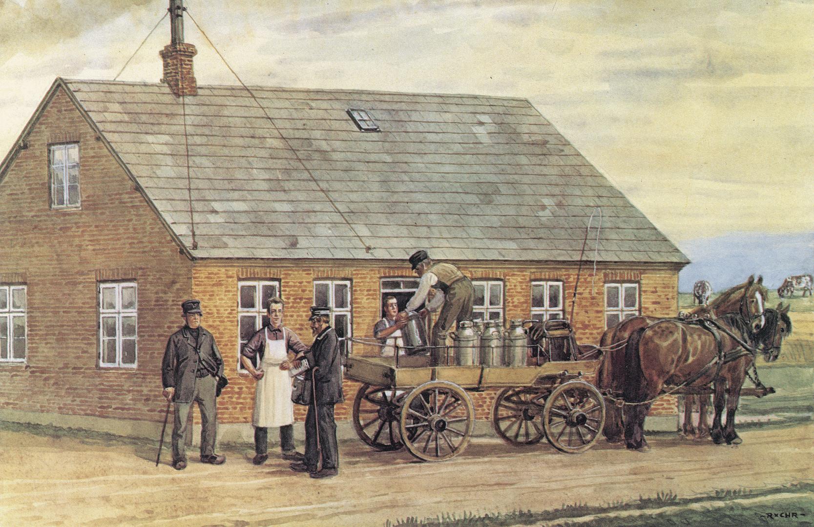 Det første andelsmejeri Hjedding, Ølgod sogn ved Varde i Vestjylland. Akvarel fra 1932 af Rasmus Christiansen (1863 - 1940).