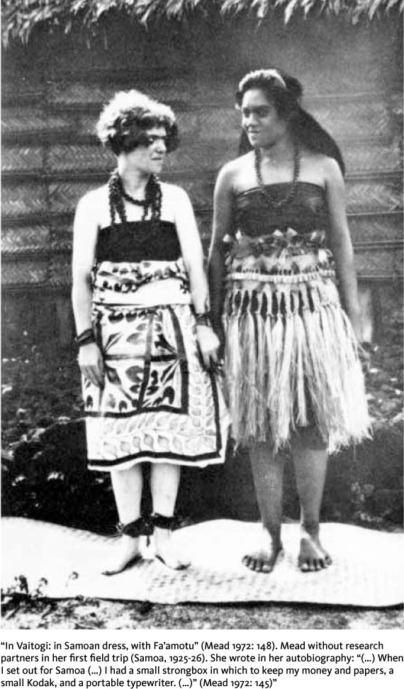 """In Vaitogi: in Samoan dress, with Fa'amotu"" (Mead 1972:148). Mead without research partners in her first field trip (Samoa, 1925-26). She wrote in her autobiography: ""(...) When I set out for Samoa (...) I had a small strongbox in which to keep my money and papers, a small Kodak, and a portable typewriter. (...)"" (Mead 1972: 145)"""