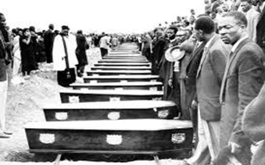 Sharpville Massacre. On 21 March 1960, 69 black Africans were killed and hundreds more were injured when police opened fire on peaceful protestors in the South African township of Sharpeville, south of Johannesburg. Around 5,000 people had gathered at Sharpeville police station to protest against pass laws. Image Credit : www.thejournalist.org.za. (CC BY-NC-ND 2.0).