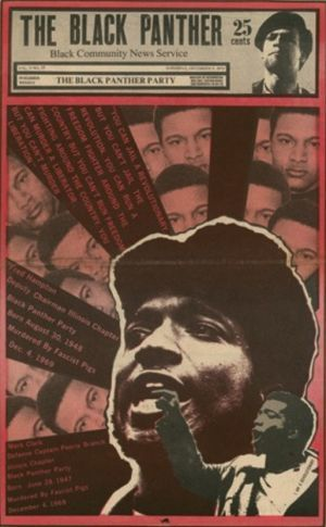 """Fred Hampton on the frontpage of """"The Black Panter"""""""