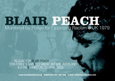 """Text for poster: """"Blair Peach: Murdered by Police for Opposing Racism, UK 1979"""""""