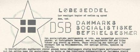 Løbeseddel fra DSB Danmarks Socialistiske Befrielseshær