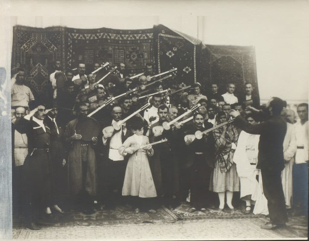 "An ""Eastern Orchestra"" played for delegates during the September 1920 Baku Congress. Photo: By Unknown - baki.info, Public Domain,"