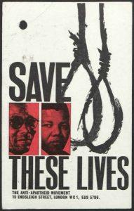Den Britiske Anti-Apartheid Bevægelses plakat ved Rivona sagen. Klik for større billede.