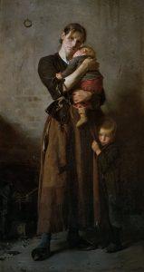 Olie på lærred malet af Frants Henningsen (1850–1908): Forladt Dog ej af venner i nøden. ARoS Aarhus Kunstmuseum. Guldaldersalen. Købt af AROS i 1888. Public Domain.