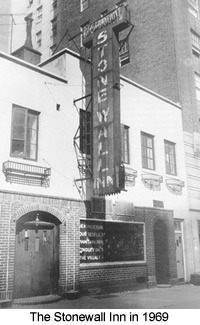 """Stonewall Inn, site of the 1969 Stonewall riots, New York City, USA. On the Window: """"We homosexuals plead with our people to please help maintain peaceful and quiet conduct on the streets of the Village—Mattachine"""" (Source: David Carter: Stonewall: The Riots that Sparked the Gay Revolution, St. Martin's Press, 2004, ISBN 0-312-34269-1, S. 143) October 1969. Public Domain."""