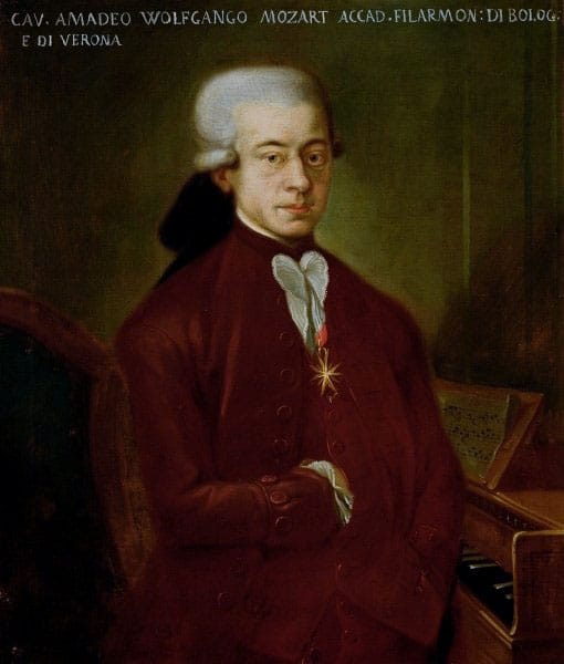"Portrait of Mozart. The so-called ""Bologna Mozart"" was copied 1777 in Salzburg (Austria) by a now unknown painter from a lost original for Padre Martini in Bologna (Italy), who had ordered it for his gallery of composers. Today it is displayed in the Museo internazionale e biblioteca della musica in Bologna in Italy. Leopold Mozart, W. A. Mozart's father, wrote about this portrait: ""It has little value as a piece of art, but as to the issue of resemblance, I can assure you that it is perfect."" (Original text: ""Malerisch hat es wenig wert, aber was die Ähnlichkeit anbetrifft, so versichere ich Ihnen, daß es ihm ganz und gar ähnlich sieht."") Reference: Letter of Leopold Mozart to Padre Martini in Bologna from Dec 22, 1777 (MBA II, pp. 204f, No. 396). Collection: Museo internazionale e biblioteca della musica di Bologna, Italy. Source/Photographer: Unknown source. Public Domain."