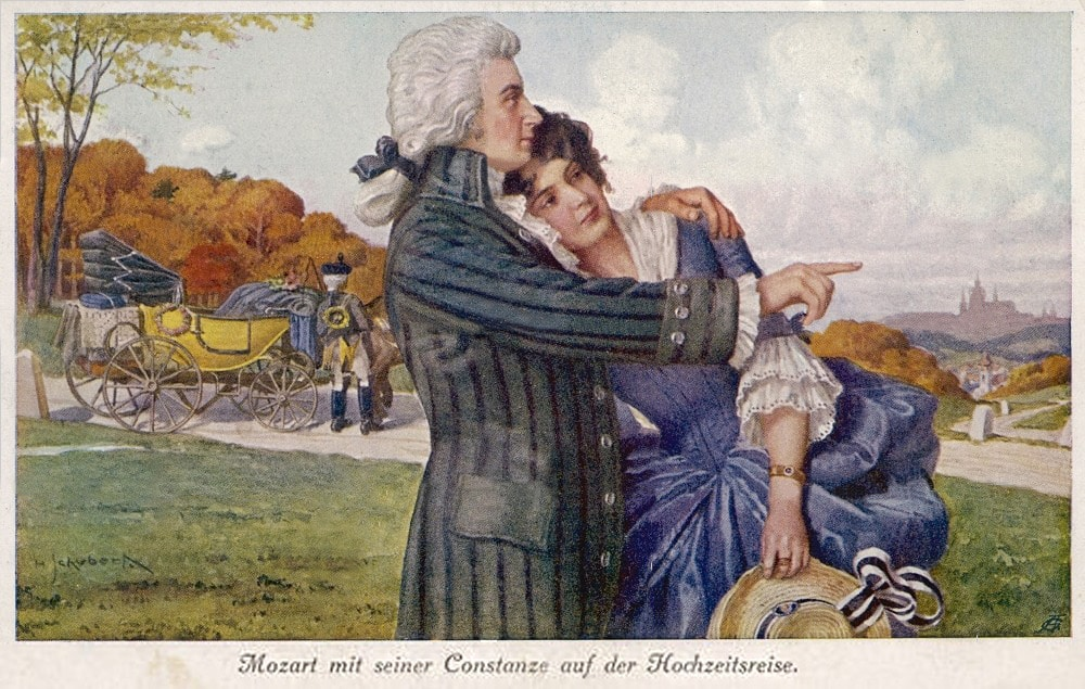 Mozart and Constanze at their honeymoon. XIX century card. Artist: Anonymous. Public Domain.
