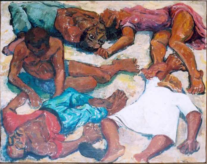 Painting of the Sharpeville massacre, which took place 21 March 1960, Sharpeville, Gauteng province, South Africa, currently located in the South African Consulate in London. Made by Godfrey Rubens (painter and photographer). (CC BY-SA 3.0).