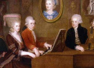 "Family portrait: Maria Anna (""Nannerl"") Mozart, her brother Wolfgang, their mother Anna Maria (medallion) and father, Leopold Mozart, circa 1780. Painted by Johann Nepomuk della Croce (1736–1819), Austrian painter. Public Domain."