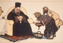 """Kritik af religion kan også handle om kritik af magtmisbrug. Her er en sovjetisk religionskritisk plakat fra 1920 med teksten: """"Alle mennesker er brødre, og deres hjælp får mig til at føle mig godt"""". Foto: Akg-images. (CC-BY-NC-4.0)."""