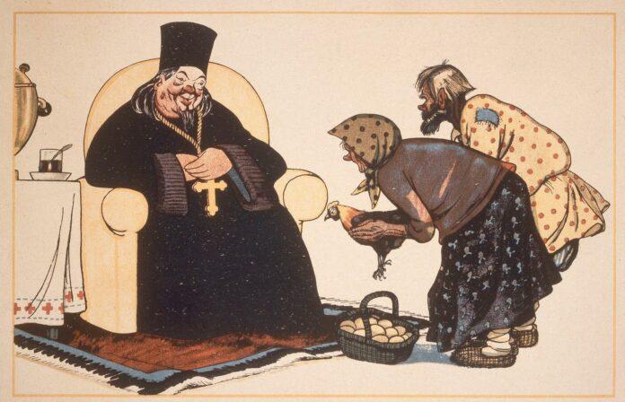 Kritik af religion kan også handle om kritik af magtmisbrug. Her er en sovjetisk religionskritisk plakat fra 1920 med teksten: