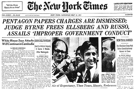 New York Times frontpage with the news of Daniel Ellsberg being set free.