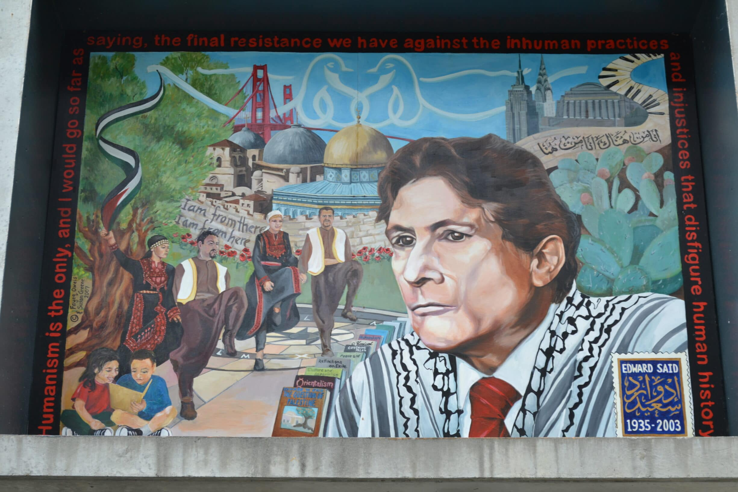 Edward Said Mural was unveiled at San Francisco State University (SFSU) on November 2nd 2007. This is the first mural of its kind to be unveiled at any American University ... Photo: Taken 27 July 2012 by Briantrejo. (CC BY-SA 3.0).