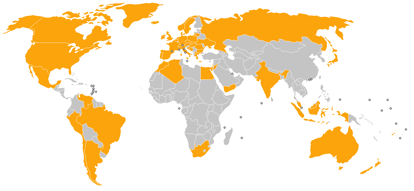 Some countries which reproduced the Jyllands-Posten cartoons in the w:Jyllands-Posten Muhammad cartoons controversy shown in orange. This includes any instance of the cartoons being published in any form (such as blurred out, only a few published etc.) as listed on w:List of newspapers that reprinted Jyllands-Posten's Muhammad cartoons and may not reflect whether the publishing of the cartoons was widespread or only a few or one individual newspaper in a country which published them. This map is probably not complete. Grey indicates no data, it does not necessarily mean the cartoons were not published in those countries. (CC BY-SA 3.0).