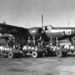 """""""Christmas Party Planners - A group of Ohio Leathernecks serving with the 1st Marine Aircraft Wing in Korea are shown with their Yuletide gift to Korean and Chinese Reds,"""" Se om Korea-krigen, 25. juni 1950 nedenfor. Photo: US Army, (CC BY-NC-ND 2.0)."""