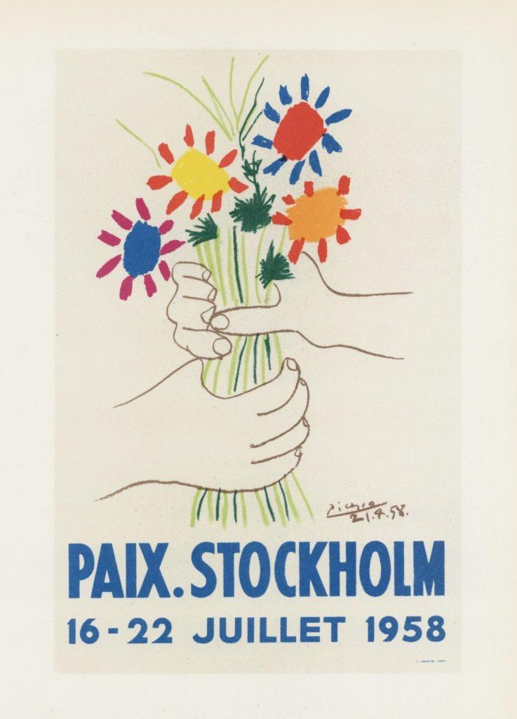 Picassos plakat for Stockholm fredskonference i 1958.