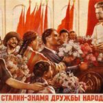 """Stalin Cult. """"The Great Stalin-banner of friendship between the people of the USSR!"""" Artist: Unknown."""