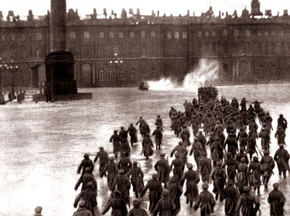 """Scene from 1927 movie """"October"""". Seizing of Winter Palace in Petrograd by bolshevic Baltic Sailors, an episode of Russian Revolution of 1917. Originaly from en:The Storming of the Winter Palace 1920. Public Domain."""
