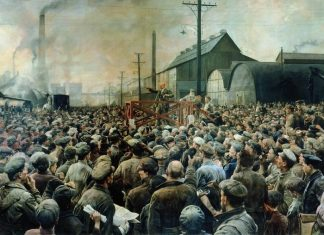 Lenin at Putilov factory at May 1917, painted i 1929 by Isaak Brodsky (1883–1939). Current location: State Historical Museum in Moskow in Russia. Public Domain.