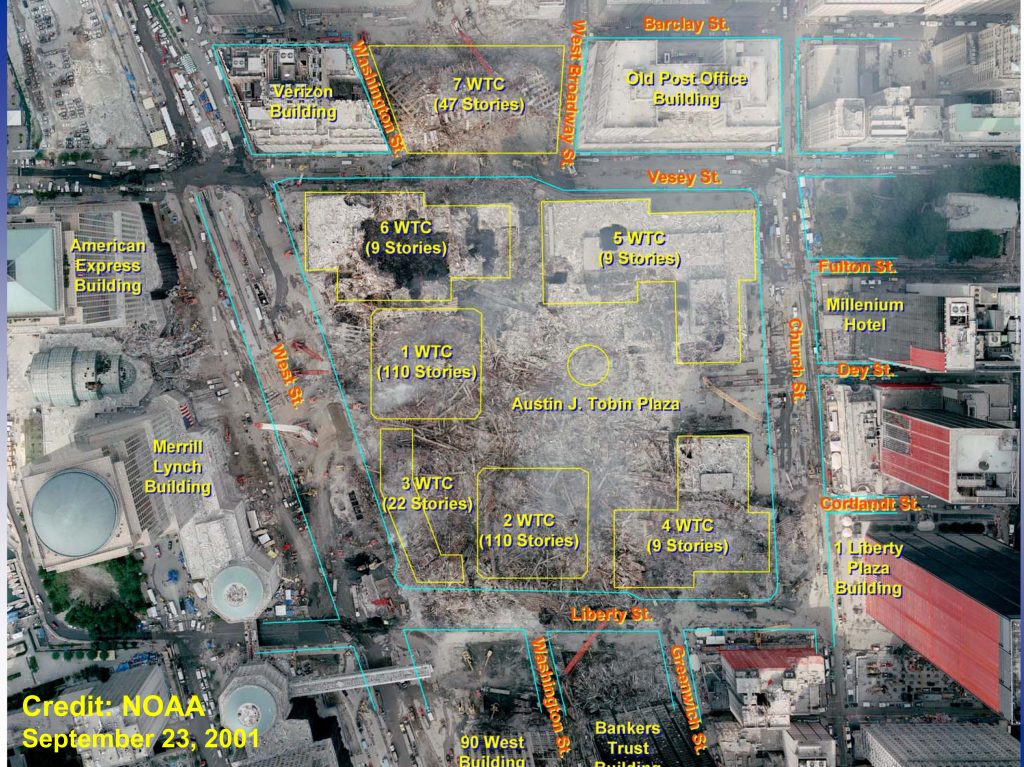 A photograph of the of the World Trade Center site (Ground Zero) with an overlay showing the original building locations. Date: 23 September 2001 (photograph), 2005 or earlier (overlay) Source: http://wtc.nist.gov/, for example, report NIST NCSTAR 1: Federal Building and Fire Safety Investigation of the World Trade Center Disaster: Final Report of the National Construction Safety Team on the Collapses of the World Trade Center Tower, figure 4-1, page 47 (in this report image erroneously credited as created in 2001-09-17). Author: Photograph by National Oceanic and Atmospheric Administration, overlay by National Institute of Standards and Technology. Public Domain.