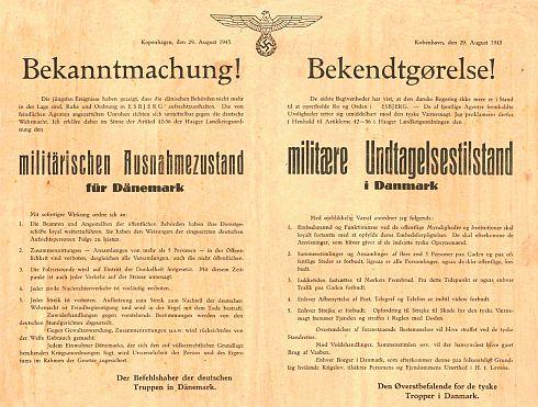 Illustration: Tysk opråb om militær undtagelsestilstand i Danmark 29. august 1943.