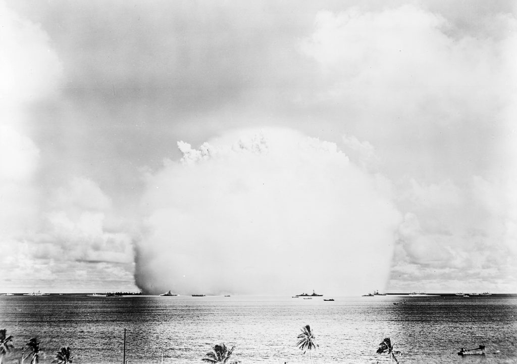 """The atomic cloud during the """"Baker"""" nuclear test at the Bikini atoll. 25 July 1946. Photo: U.S. Navy (photo 80-G-396231) Public Domain."""